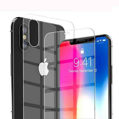 For Apple iPhone XS Max XR  X 9H Front+Back Tempered Glass Film Screen Protector