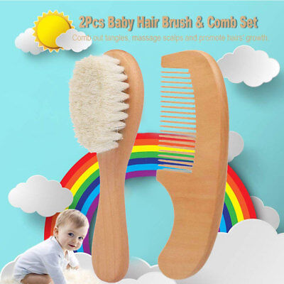 2pcs/ Set Wooden Massage Comb Hair Brush Baby Kit Kids Natural Care