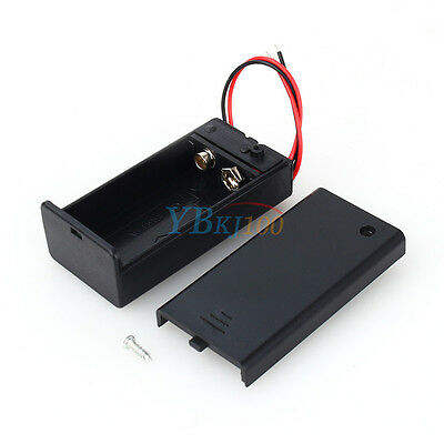 Black 9V DC Battery Holder Box Case with Rear Cover + Wire Lead ON/OFF Switch RH