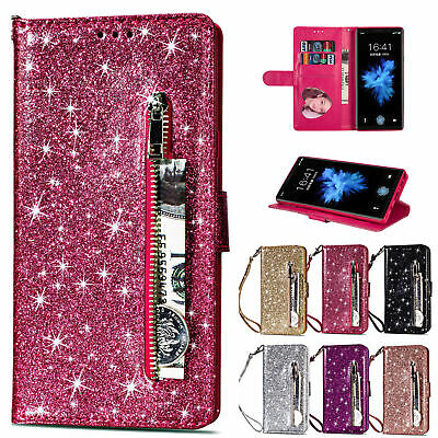 Bling Glitter Leather Flip Card Wallet Stand Case For Samsung Galaxy S9 Plus S8
