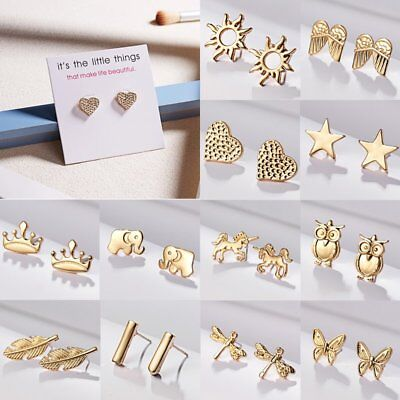 Fashion Elegant Gold Heart Crown Star Butterfly Ear Stud Earrings Lady Jewellery