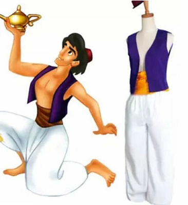 New Animation Uniform Fancy Dress Aladdin Prince Cosplay Costume Men Clothes AU