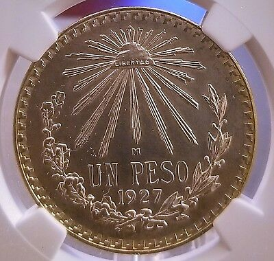 Mexico: 1927 Silver Semi-Key One Peso * Ngc Graded: Unc Details * Nice Toning