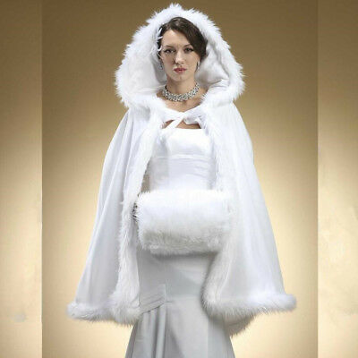 c94db5242335a Ivory Winter Faux Fur Wedding Cape Bolero Bridal Jacket Cloak Wrap White  Hooded