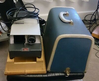 Vintage BRAUN Paximat Electric SLIDES PROJECTOR w CASE +Wooden Platform GERMANY