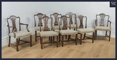 Set of 8 Eight English Georgian Hepplewhite Style Mahogany Dining Chairs c.1970