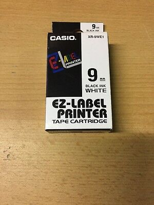 Casio EZ Label 9mm - Black Ink On White Tape Cartridge - XR-9WE1