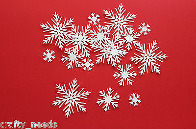 30 PC - SNOW FLAKES Christmas  Embellishments Paper DIE CUTS