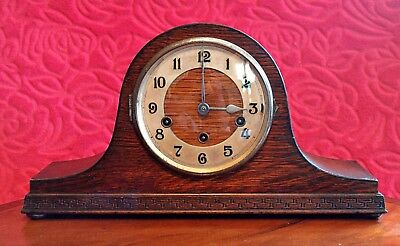 Vintage Art Deco German 8-Day Oak Mantel Clock 'Haller' with Wesminster Chimes