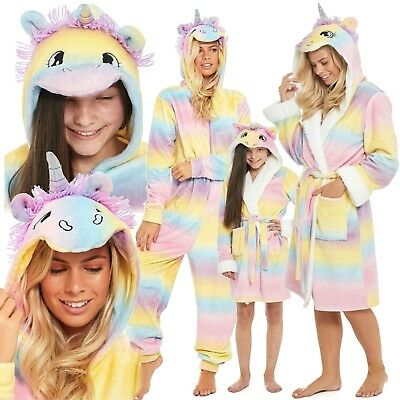 1Onesie Girls Women Unicorn Hooded Matching Mother & Daughter Robe Loungewear
