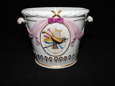 Old Paris Style Italy Italian Porcelain Cache Pot Musical Instrument Pattern