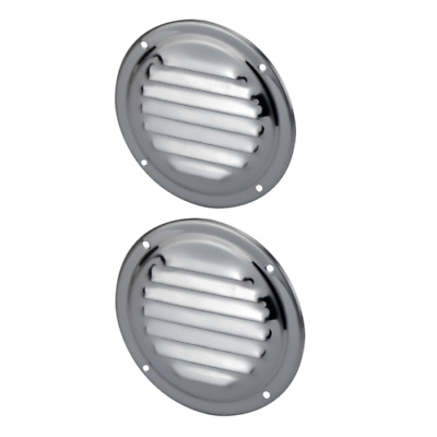 2x Round Air Vents for Caravan Boat RV Wall Cupboard Marine Stainless Steel