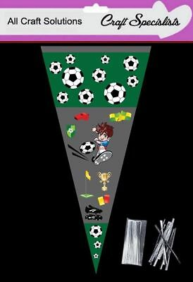 """100 - CARTOON Football Cone Cello Cellophane Sweet Party Bags With 4"""" Ties"""