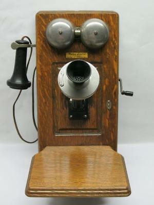 Antique Western Electric Oak Wall Mount Crank Telephone