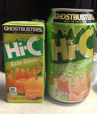 Hi-C Ecto Cooler Can And Juice Box New Ghostbusters Slimer