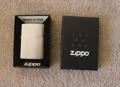 Zippo 200 Classic Brushed Chrome Windproof Full Size Lighter - NEW in Box!!