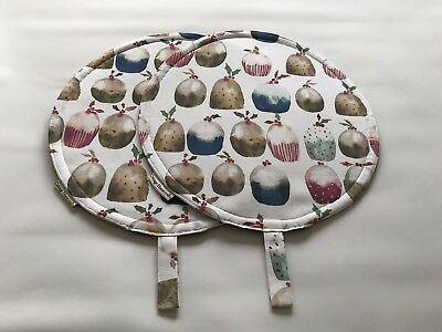 Chef Pads for Aga Ranges, PAIR, Christmas Puddings , 100% cotton, washable