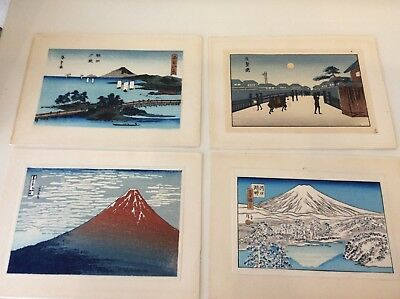 4 small  tipped in japanese woodblock prints