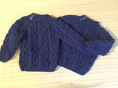 2 Hand Knitted Blue Jumpers 6-12 Months