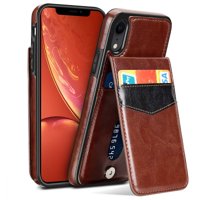 Case for iPhone XR Faux Leather Back Flip XR Wallet Card Holder ID Credit Debit