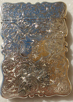 Superb Silver 1876 Engine Turned Floral Scroll Card Case by Joseph Gloster Ltd