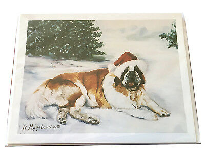 NEW Saint St. Bernard Santa Big Dog Christmas Holiday Blank Note Cards Set Of 8