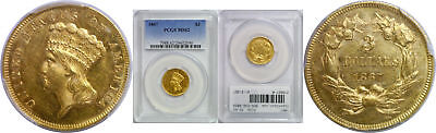 1867 $3 Gold Coin PCGS MS-62
