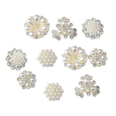 10pcs Alloy Flower Pearl Rhinestone Flatback Embellishments DIY Accessories