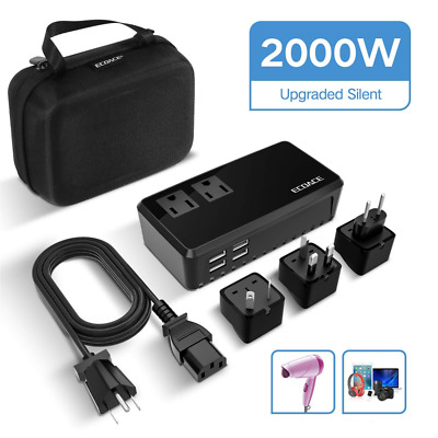 2000W Voltage Converter 4 USB Port Set Down 220V to 110V Power Travel Adapter US