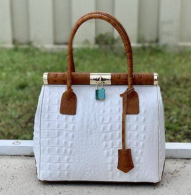 20efbee6cb Italian Leather White and Brown Crocodile Embossed Satchel Handbag Purse
