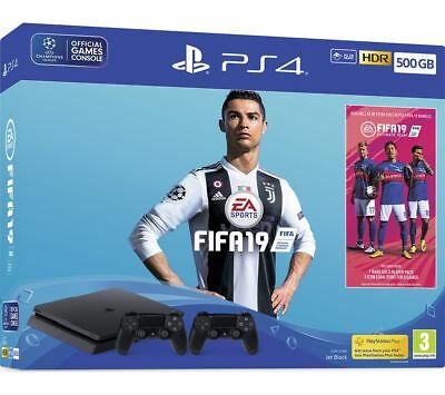 SONY PlayStation PS4 with FIFA 19 & Dual Wireless Controllers - 500 GB - Currys