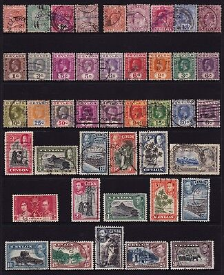 Ceylon Stamps Collection 2 Pages