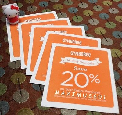 Five (5) Gymboree 20% Off Entire Purchase Codes Expires 1/01/19