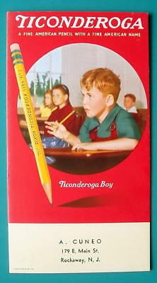 TICONDEROGA PENCILS Pupils in School American Name - 1950s INK BLOTTER AD