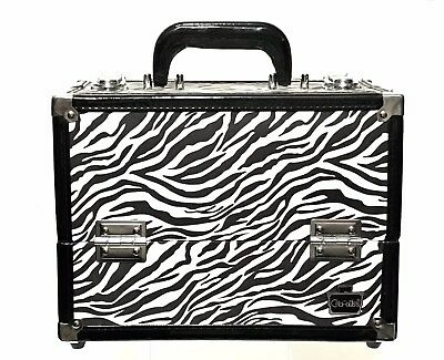 Caboodles Crave Makeup Train Case Zebra Print Flip Lid 4 Trays with Key Included