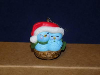 Vintage 1982 AVON Nestled Together Bluebirds Christmas Tree Ornament