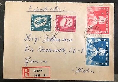 1951 Berlin East Germany DDR Cover To Genova Italy German Polish Frienshi Stamp