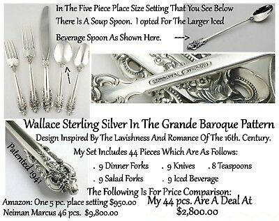Wallace Silversmith Sterling Silver Grand Baroque Flatware!