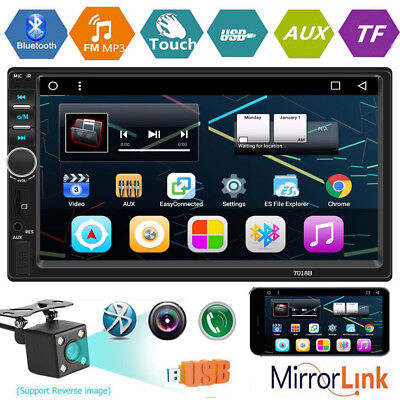 7''Double 2Din Touch Screen Android Car Dash MP5 Player HD 1080P FM Radio+Camera