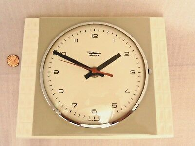 50s 60s POTTERY WALL CLOCK, Vintage EAST GERMAN, Retro KITCHEN BATTERY TIMEPIECE