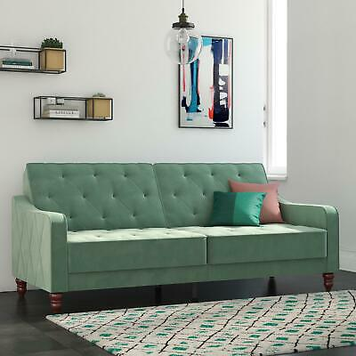 VINTAGE TUFTED SOFA Bed Convertible Sleeper Soft Velvet Home Furniture Green
