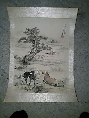 Superb 18/19Thc Chinese Japanese Signed Horse Block Print