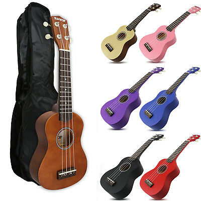 "21 ""  Soprano Ukulele Perfect Beginner Starter Uke Ukelele 4 String + Black Bag"