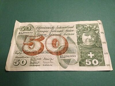 1973 Switzerland Swiss 50 Franc Bank Note Currency Paper Money