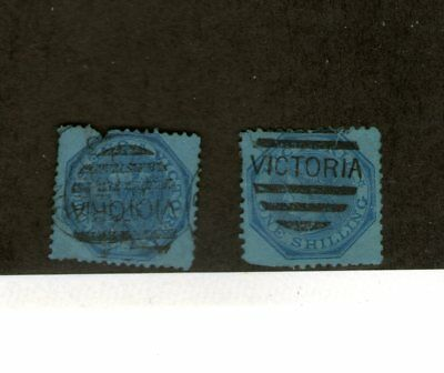 Victoria/ Two Early 1/- Deep Blue Queen Victoria Stamps-Used