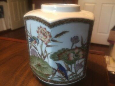 Vintage Porcelin Hand Painted Birds And Flowers Vase 5In Tall No Lid