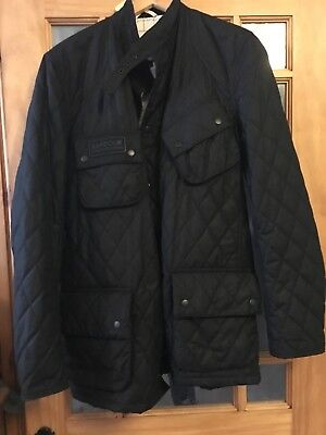 4748d5ea79f57 BARBOUR INTERNATIONAL PORT Gower Quilted Jacket Black Brand New With ...