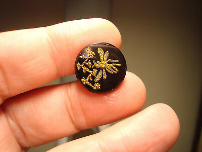Antique black glass GOLD DRAGONFLY motif button