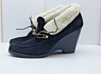 b6fa4f17a4db Michael Michael Kors Women s Black Suede Wedge Lace Booties Fur Winter  Shoes 11M