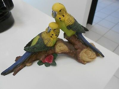"Parakeets On Tree Limb Resin Figurine Vg+ 9 1/4"" X 5 1/4"" X 2"""